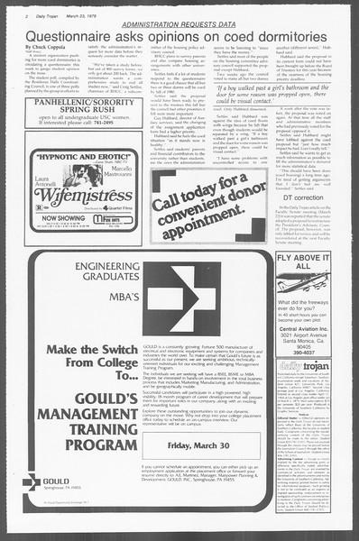 Daily Trojan, Vol. 76, No. 30, March 23, 1979