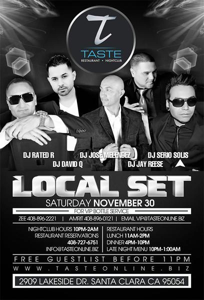 Local Set feat. Rated R, David Q, Jose Melendez, Jay Reese & Serio Solis @ Taste Restaurant & Nightclub 11.30.13