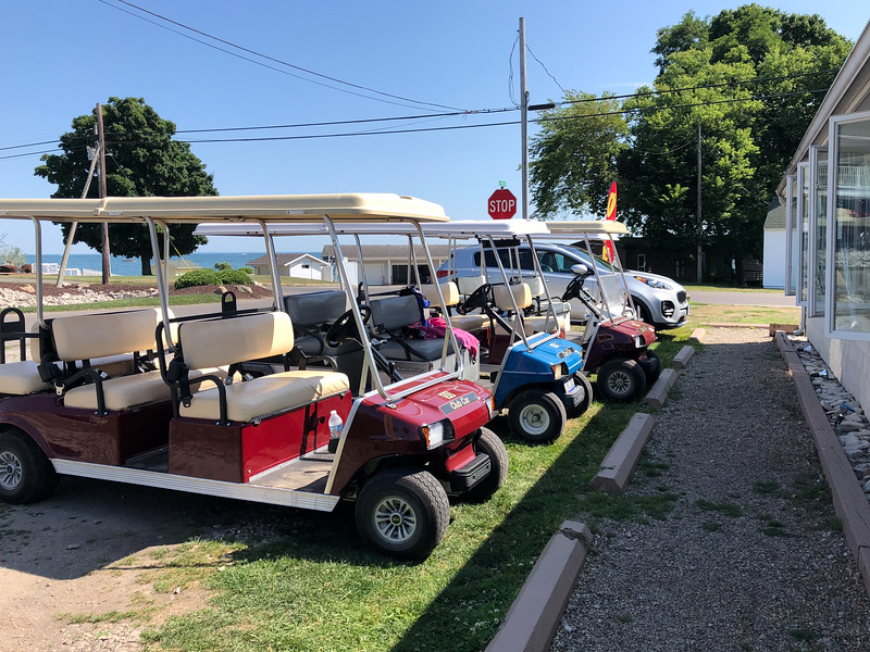 Golf carts parked on Kelleys Island