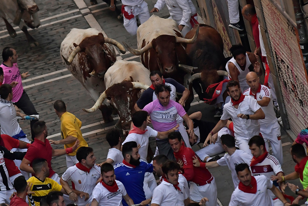 . Revellers run next to a fighting bull from the Cebada Gago ranch accompanied by steers during the third day of the running of the bulls at the San Fermin Festival in Pamplona, northern Spain, Monday, July 9, 2018. Revellers from around the world flock to Pamplona every year to take part in the eight days of the running of the bulls. (AP Photo/Alvaro Barrientos)