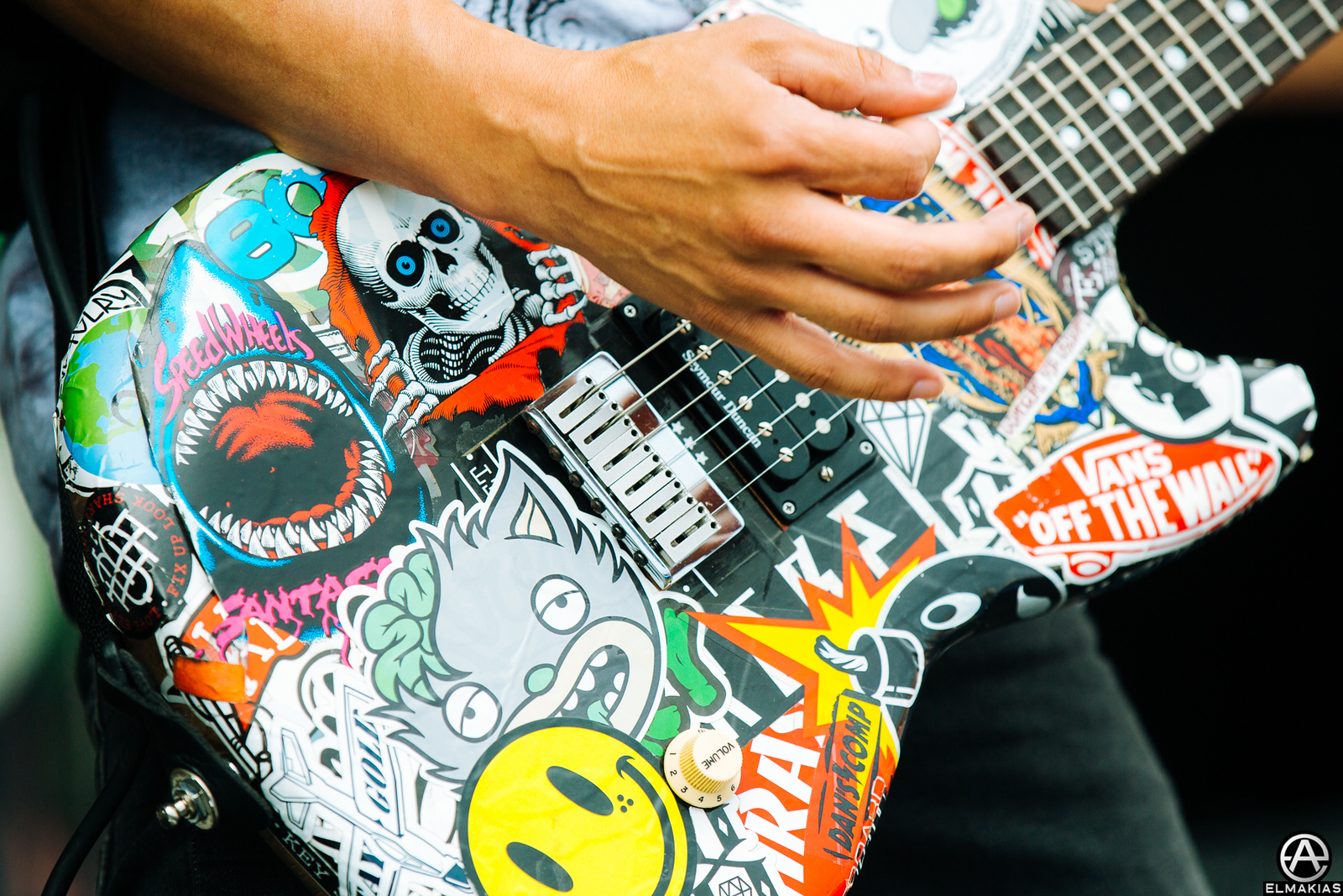 Vic Fuentes of Pierce the Veil's guitar at Warped Tour 2015 by Adam Elmakias