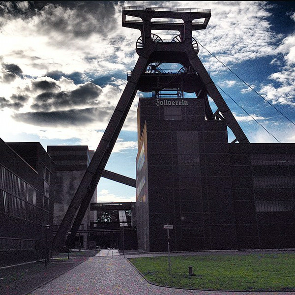 """Late afternoon takes over at Zollverein, near the city of Essen in Germany's Rhineland. Once a sprawling coal mine industrial center, the Modern Movement brick complex is now a historical and design center. Readers of Anthony Doerr's """"All the Light We Cannot See"""" will recognize the name. via Instagram http://ift.tt/1lrpJzg"""
