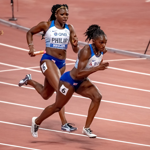 Dina Asher-Smith prepares to take the baton in the Women's 4x100m relay during day nine of 17th IAAF World Athletics Championships Doha 2019 at Khalifa International Stadium on October 05, 2019 in Doha, Qatar. Photo by Tom Kirkwood/SportDXB