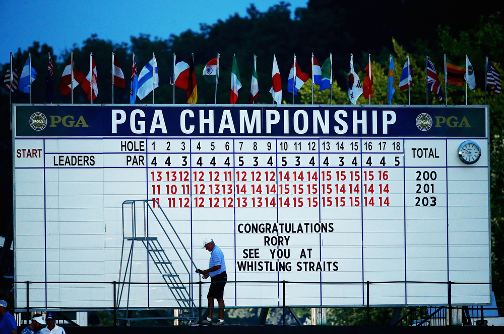 . A note on the leaderboard reads \'Congratulations Rory See You At Whistling Straits\' after his one-stroke victory during the final round of the 96th PGA Championship at Valhalla Golf Club on August 10, 2014 in Louisville, Kentucky.  (Photo by Andy Lyons/Getty Images)
