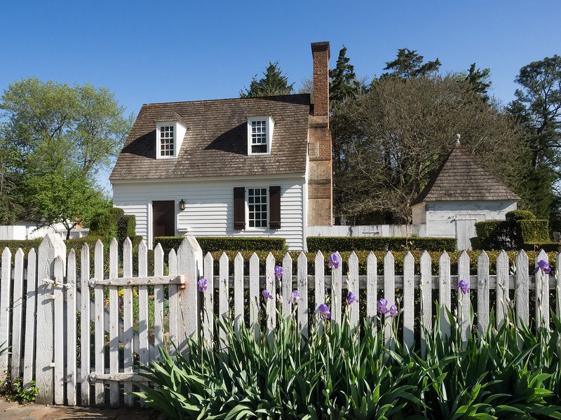 Colonial Williamsburg White Picket Fence Scene