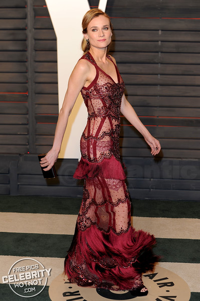Diane Kruger Wears Lingerie Sheer Sequined See Through Reem Acra Gown, LA