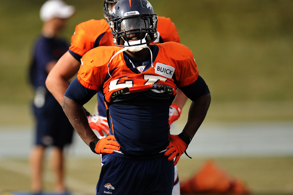 . Denver Broncos running back Knowshon Moreno #27 during Broncos practice for their coming game against the Tampa Bay Buccaneers at Dove Valley in Denver Colorado Wednesday, November 28,  2012.    Joe Amon, The Denver Post