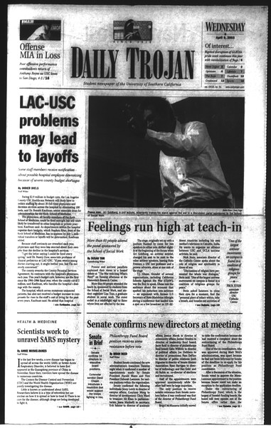 Daily Trojan, Vol. 148, No. 51, April 09, 2003