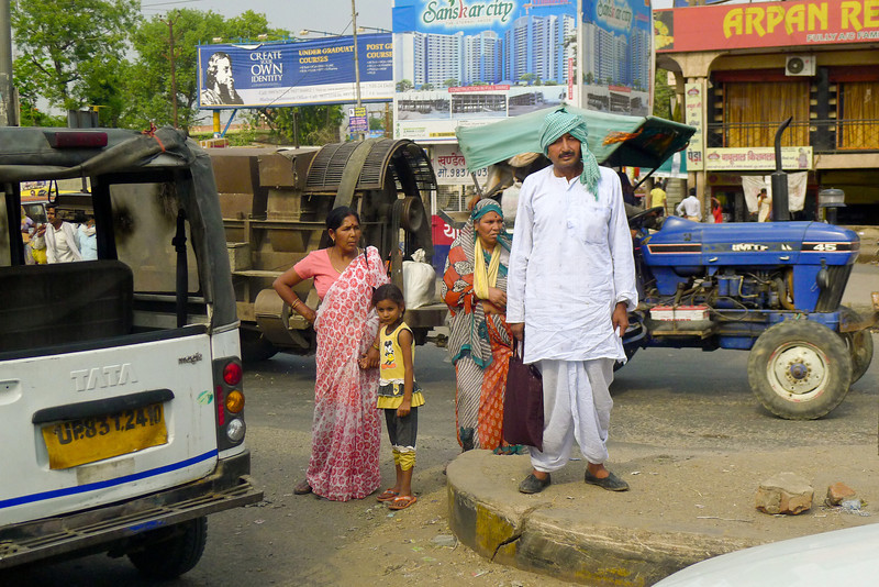 Family leaving the market