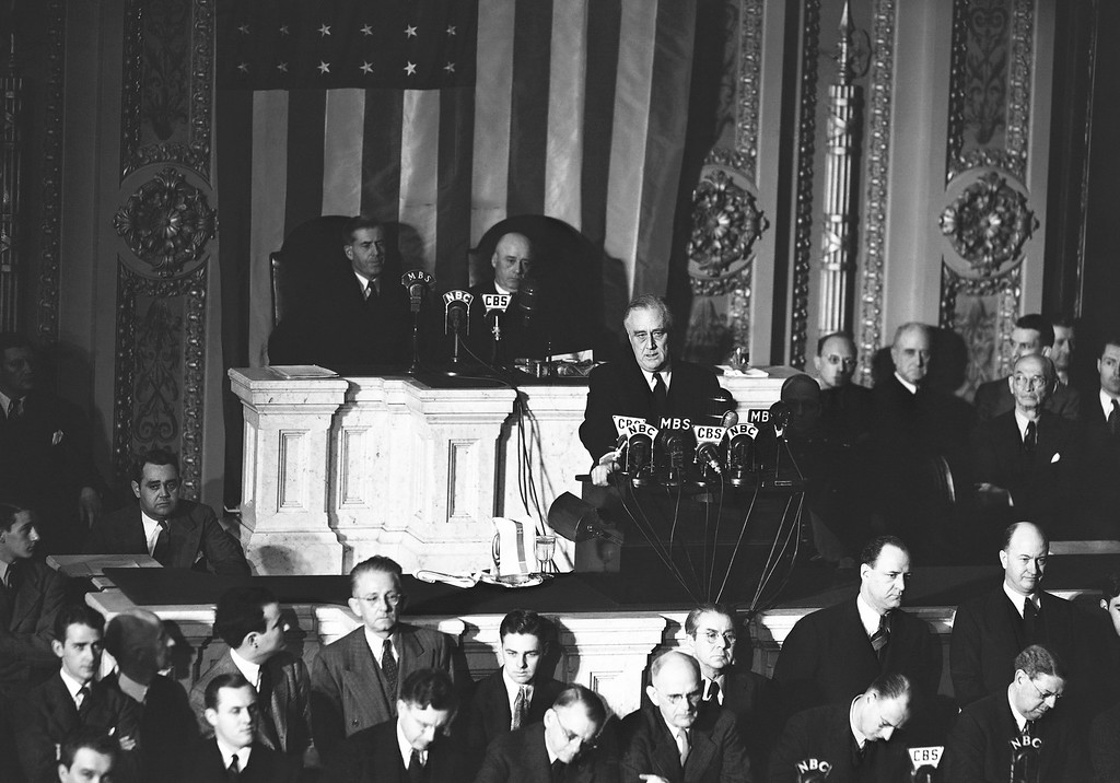 . President Franklin D. Roosevelt, appearing before a joint session of Congress termed as unprovoked and dastardly the attack by Japan upon Hawaii and the Philippines and asked for an immediate declaration of war, Dec. 8, 1941. (AP Photo)