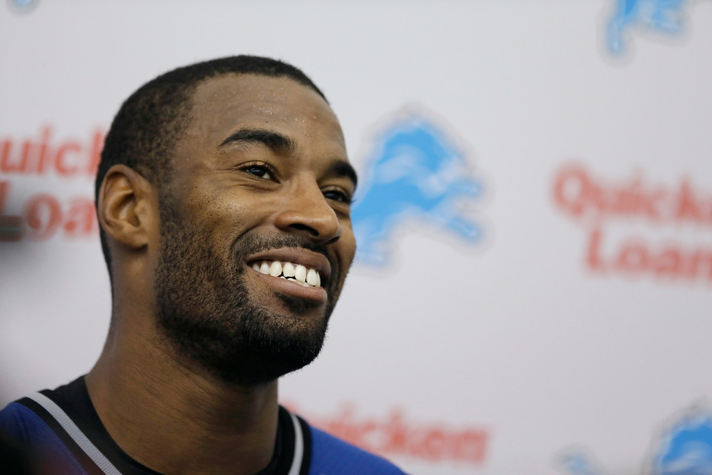 . FILE - In this May 28, 2014, file photo, Detroit Lions receiver Calvin Johnson talks with the media after an NFL football organized team activity in Allen Park, Mich. Johnson become one of the great players in the history of the Lions, he\'s also been dependable and durable throughout his career. But toward the end of last season, the bumps and bruises finally seemed to be catching up with the star receiver. (AP Photo/Carlos Osorio, File)