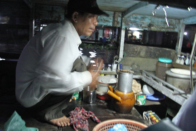 Getting a real Vietnamese Coffee from a floating boat in the middle of the Mekong river on the way to the market. Helped wake up up!!