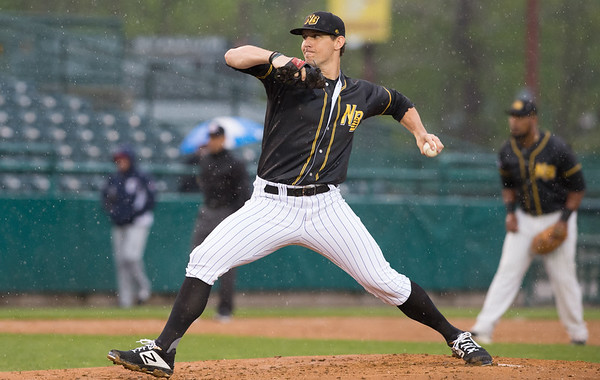 05/03/19 Wesley Bunnell | Staff The New Britain Bees home opener vs the Somerset Patriots on Friday night at New Britain Stadium. Starting pitcher Christian Friedrich (23).
