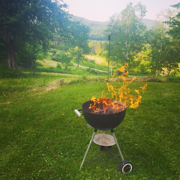 grill with fire