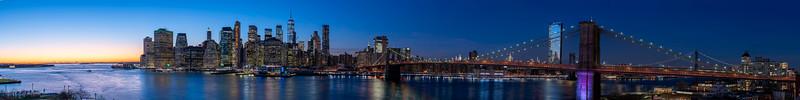 New York, Night Winter View to Manhattan and Brooklyn Bridge