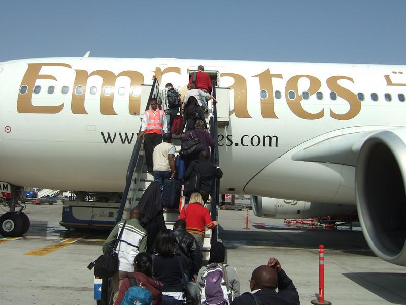 Leaving Dubai on Emirates Airlines.