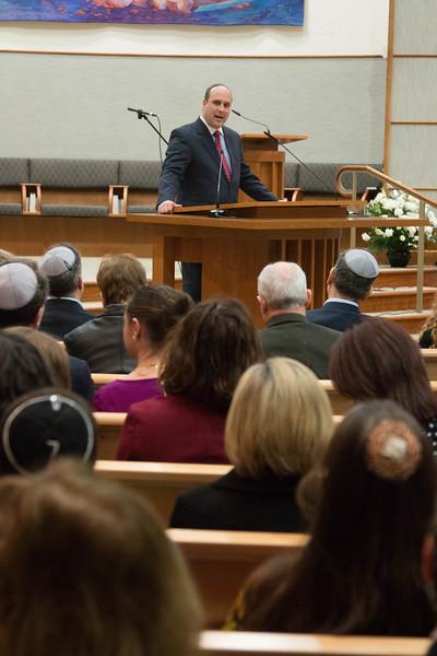Rabbi Adam Raskin (Har Shalom Congregation) offers well wishes -- Installation Ceremony for Rabbi Greg Harris as Head Rabbi at Congregation Beth El, Bethesda, MD, February 20, 2016