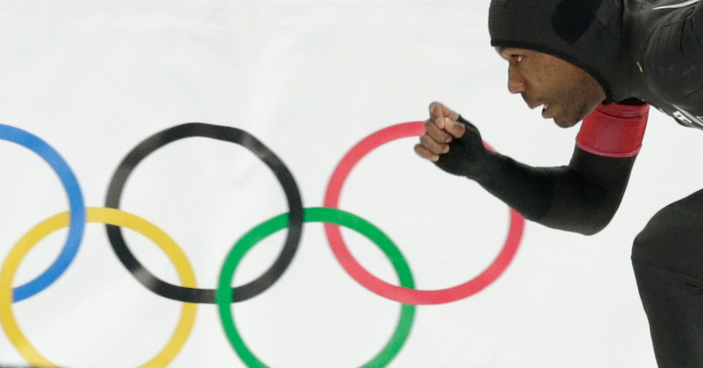 . Shani Davis of the U.S. competes in the second heat of the men\'s 500-meter speedskating race at the Adler Arena Skating Center during the 2014 Winter Olympics, Monday, Feb. 10, 2014, in Sochi, Russia. (AP Photo/Matt Dunham)