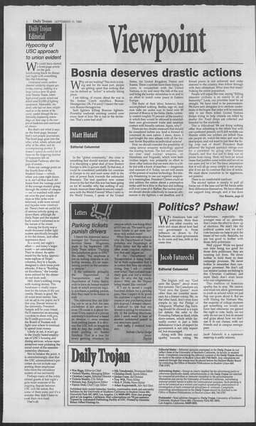 Daily Trojan, Vol. 126, No. 11, September 15, 1995