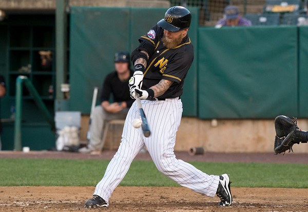 09/03/19 Wesley Bunnell | StaffrrThe New Britain Bees defeated the Somerset Patriots 7-6 in the bottom of the 8th on what was scheduled to be a 7 inning first game of a doubleheader. Mike Carp (24).