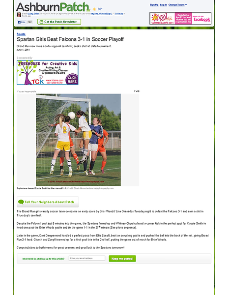 Spartan Girls Beat Falcons 3-1 in Soccer Playoff - Ashburn, VA Patch.png