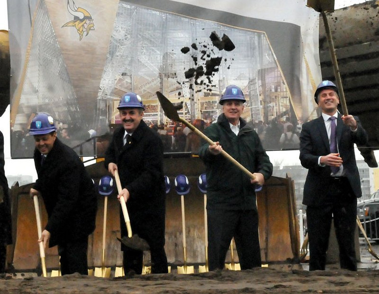 """. <p><b> Hundreds of dignitaries gathered in downtown Minneapolis on Tuesday morning for the official groundbreaking for the Vikings� new stadium. The highlight of the festivities came when � </b> <p> A. Adrian Peterson addressed the crowd <p> B. Mark Wilf talked of hosting a future Super Bowl <p> C. Someone explained to Gov. Mark Dayton what a football stadium is <p><b><a href=\'http://www.twincities.com/localnews/ci_24642111/vikings-stadium-groundbreaking-set-tuesday-morning\' target=\""""_blank\"""">HUH?</a></b> <p>     (Pioneer Press: John Doman)"""