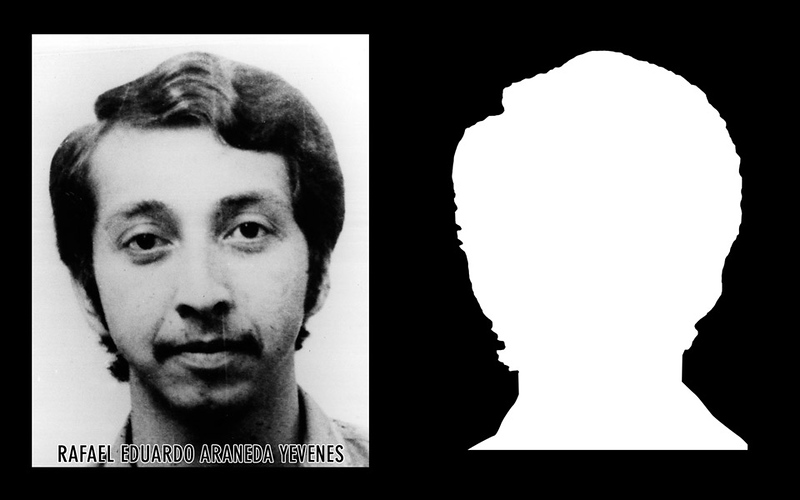 Photograph and silhouette of Rafael Eduardo Araneda Yevenes.  Rafael Eduardo Araneda Yevenes was 25 years old when he was detained and disappeared by DINA (National Intelligence Directorate) agents on December 12th, 1974. * Shown here is the detail of the original photograph juxtaposed against its silhouette. (Courtesy Alfredo Jaar Studio) More information about Rafael Eduardo Araneda Yevenes can be found inside the archives of the Museo de Memoria y Derechos Humanos (Museum of Memory and Human Rights).  The information presented here and more can be found online: http://www.archivochile.com/Memorial/caidos_mir/A/araneda_yevenes_rafael.pdf