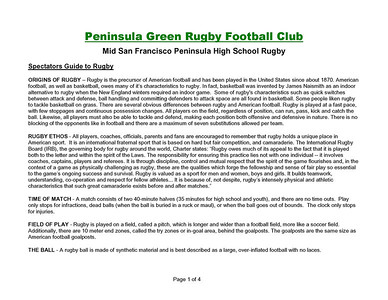 Rugby - Peninsula Green HS Rugby Club - Spectators Guide