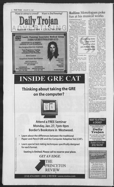 Daily Trojan, Vol. 130, No. 8, January 22, 1997
