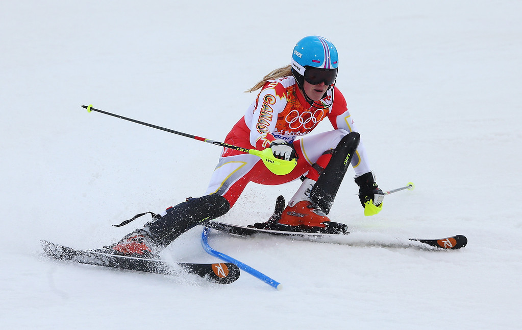 . Erin Mielzynski of Canada in action during the Women\'s Slalom during day 14 of the Sochi 2014 Winter Olympics at Rosa Khutor Alpine Center on February 21, 2014 in Sochi, Russia.  (Photo by Alexander Hassenstein/Getty Images)
