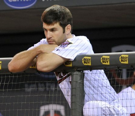 """. <p><b> The Twins have shut down Joe Mauer for the rest of the season because he is suffering from � </b> <p> A. Post-concussion symptoms  <p> B. Postpartum depression  <p> C. Morneau playoff envy  <p><b><a href=\'http://www.twincities.com/sports/ci_24158653/minnesota-twins-joe-mauer-shut-down-rest-season\' target=\""""_blank\"""">HUH?</a></b> <p>    (AP Photo/Jim Mone)"""