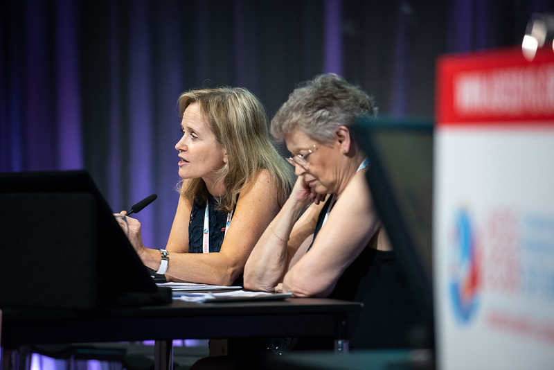 22nd International AIDS Conference (AIDS 2018) Amsterdam, Netherlands.   Copyright: Steve Forrest/Workers' Photos/ IAS  Photo shows (From Left to Right): Sharon Lewin and Francoise Barré-Sinoussi, during the IAS Members' Meeting.