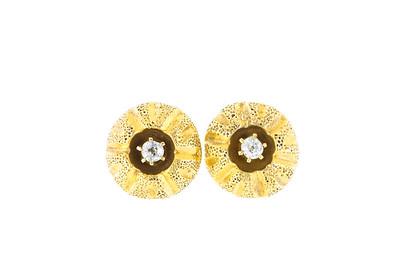 Gold and Old Mine Cut Diamond Sear Urchin Earrings