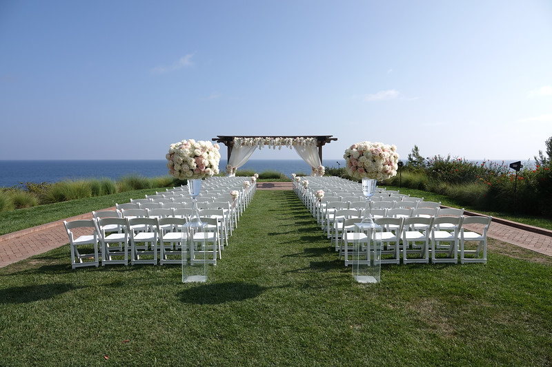 The wedding is all set up and ready to go at Terranea