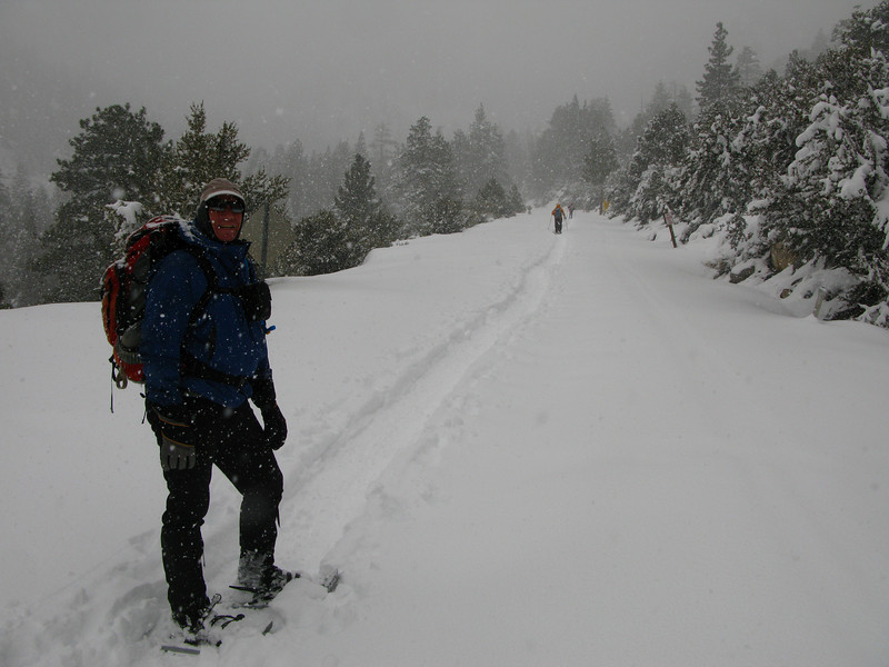 we put on snow shoes after our break for the rest of the hike - notice it has started to snow