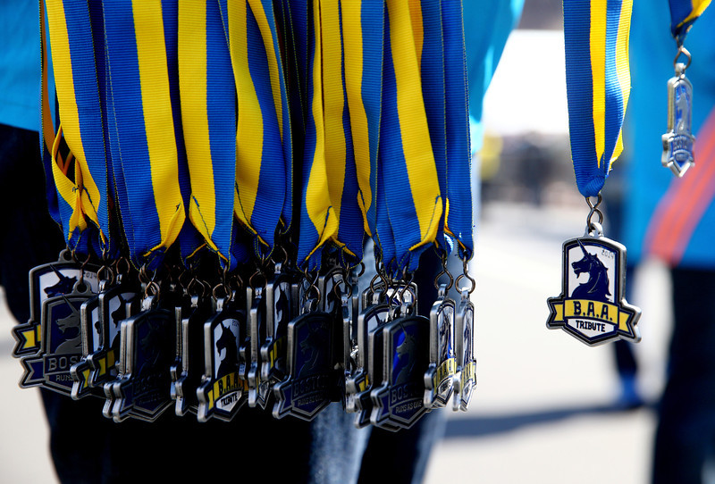 . Finisher medals are seen during the B.A.A. Tribute Run on April 19, 2014 in Boston, Massachusetts.  (Photo by Alex Trautwig/Getty Images)