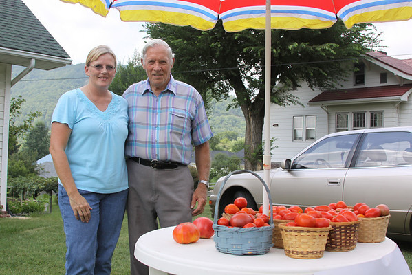 Bill Booth with His Tomatoes - August 2010