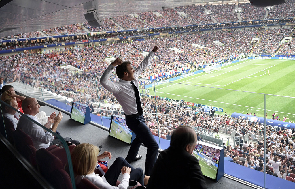 . French President Emmanuel Macron reacts during the final match between France and Croatia at the 2018 soccer World Cup in the Luzhniki Stadium in Moscow, Russia, Sunday, July 15, 2018. (Alexei Nikolsky, Sputnik, Kremlin Pool Photo via AP)