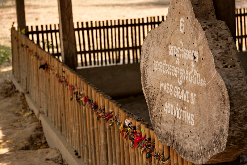Next we moved to the  Killing Fields.  Here visitors have left bracelets all along the fence surrounding a mass grave. An audio tour shows you around the entire area.