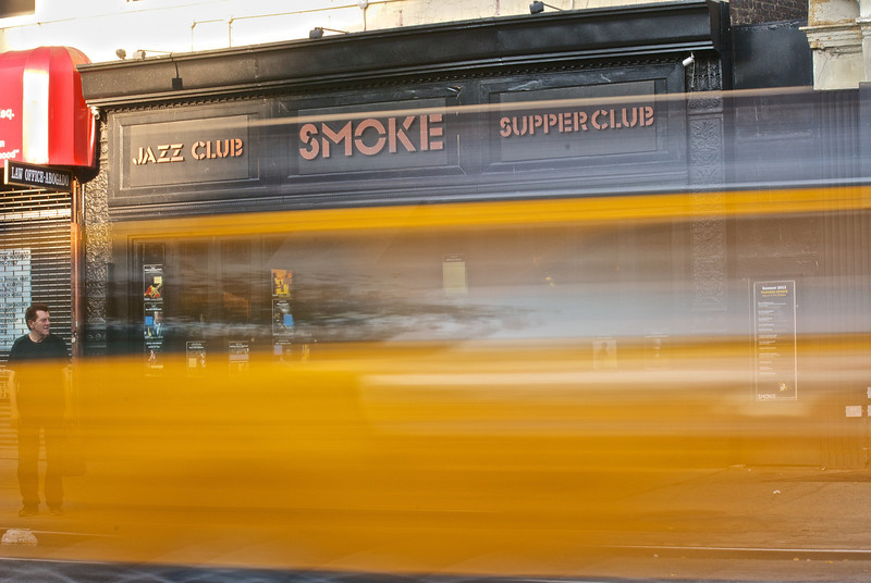 Taxi in front of smoke