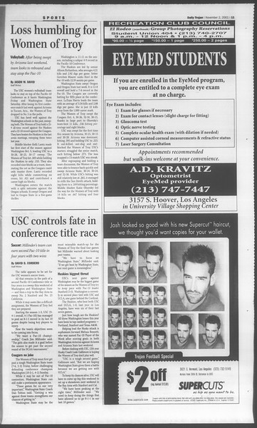 Daily Trojan, Vol. 144, No. 47, November 02, 2001