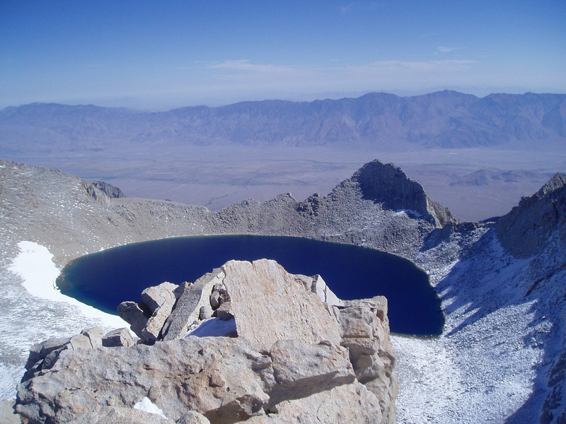 Tulainyo Lake, 12,802 feet. Ovens Valley and Inyo Mountains in the background