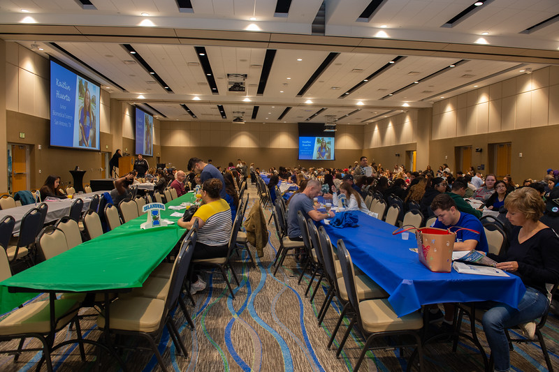 Prospective Islanders and their families eat breakfast in the Anchor Ballroom.