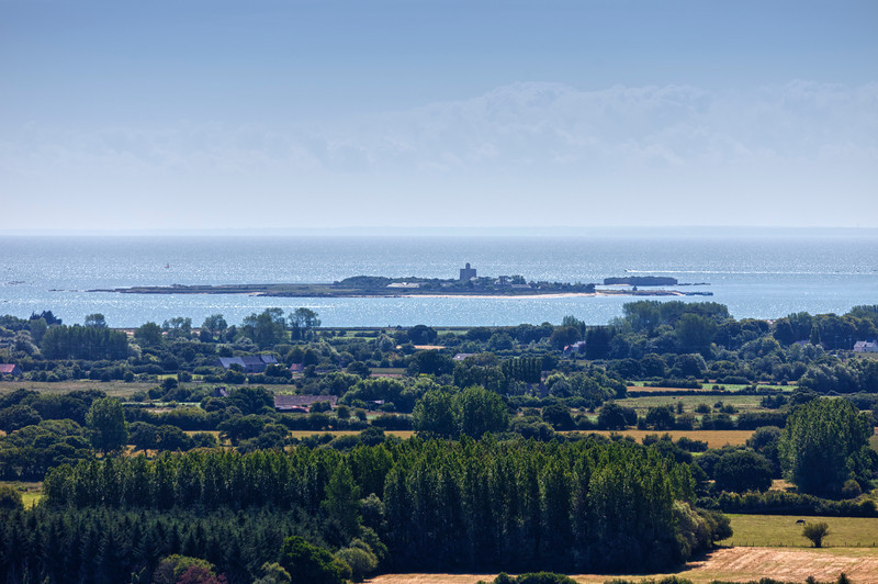 Panoramic View of Peninsula Cotentin in Basse Normandy, France - In the distance the island Tatihou near Saint-Vaast-la-Hougue, Basse Normandy, France