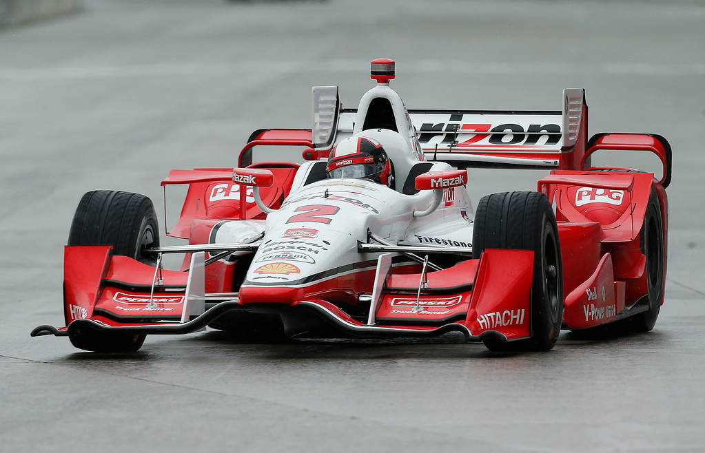 . Juan Pablo Montoya, of Colombia, drives during the second race of the IndyCar Detroit Grand Prix auto racing doubleheader Sunday, May 31, 2015, in Detroit. (AP Photo/Paul Sancya)