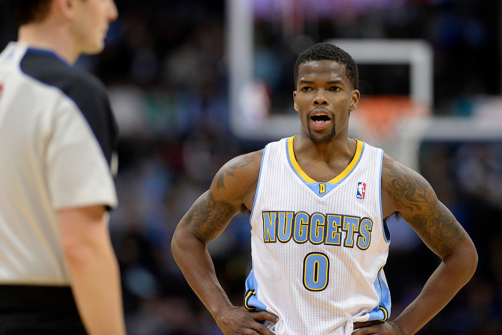 . Denver Nuggets guard Aaron Brooks (0) argues a call with a referee during the second quarter. (Photo by AAron Ontiveroz/The Denver Post)