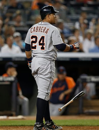 . Detroit Tigers Miguel Cabrera drops his bat after striking out in the eighth inning of a baseball game against the New York Yankees at Yankee Stadium in New York, Tuesday, Aug. 5, 2014.  (AP Photo/Kathy Willens)