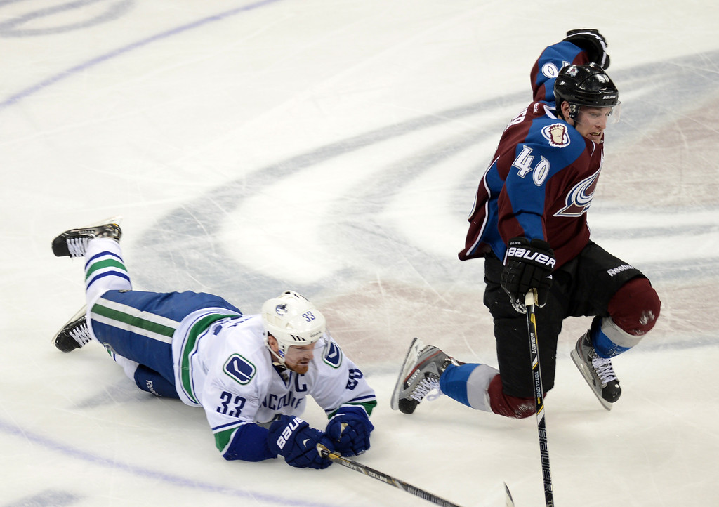 . DENVER, CO. - APRIL 13 : Mark Olver of Colorado Avalanche (40) and Henrik Sedin of Vancouver Canucks (33) are in action during the 2nd period of the game at Pepsi Center. Denver, Colorado. April 13, 2013. (Photo By Hyoung Chang/The Denver Post)