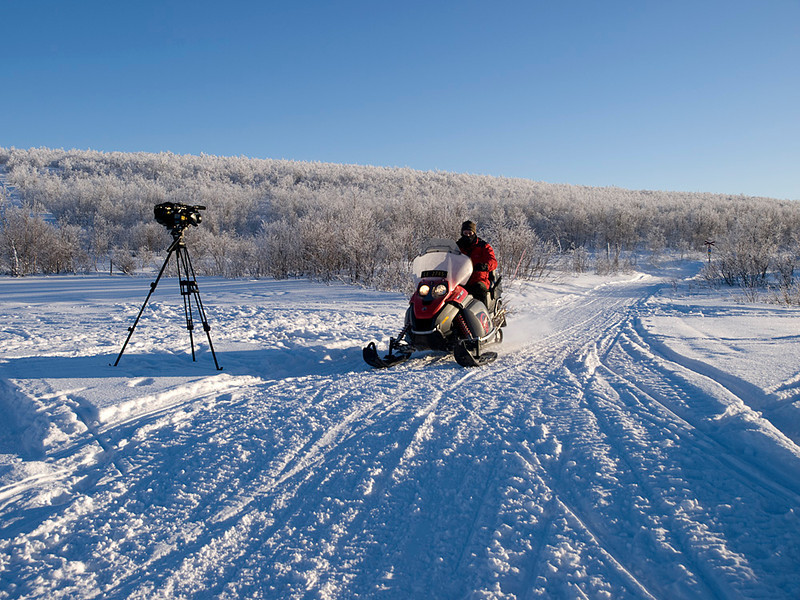Al filming himself on a skidoo.