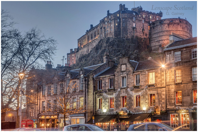 Edinburgh Castle from the Grassmarket, dusk